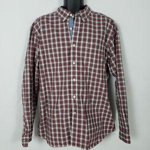 Nautica Button Down Shirt Men's XL Red Plaid L/S